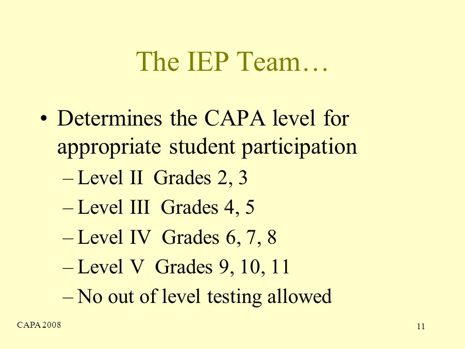 CAPA The IEP Team… Determines the CAPA level for appropriate student participation –Level II Grades 2, 3 –Level III Grades 4, 5 –Level IV Grades 6, 7, 8 –Level V Grades 9, 10, 11 –No out of level testing allowed