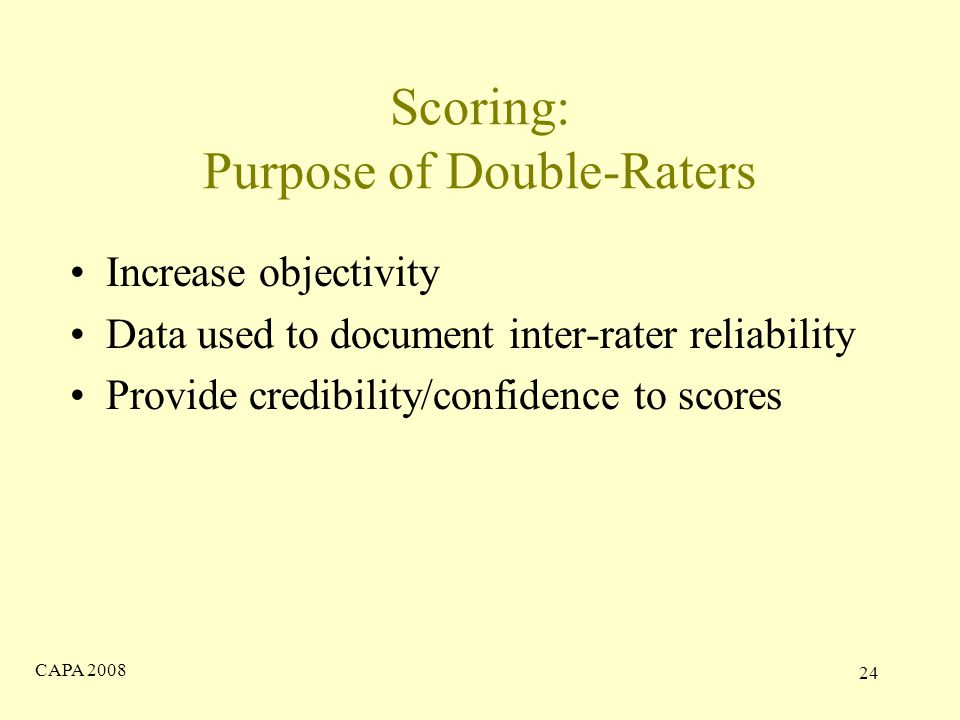 CAPA Scoring: Purpose of Double-Raters Increase objectivity Data used to document inter-rater reliability Provide credibility/confidence to scores