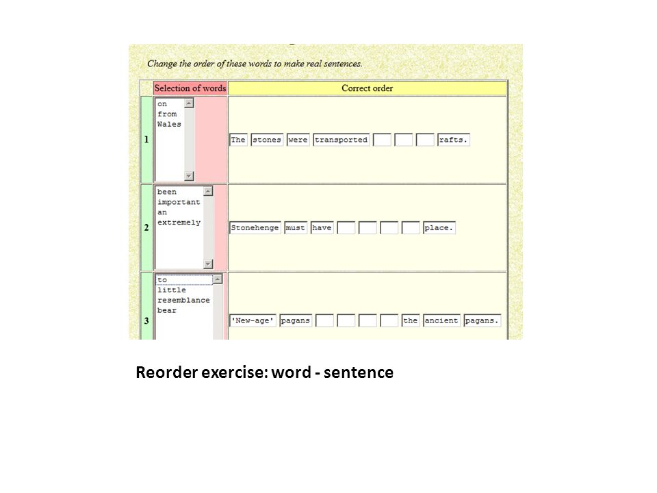 Reorder exercise: word - sentence