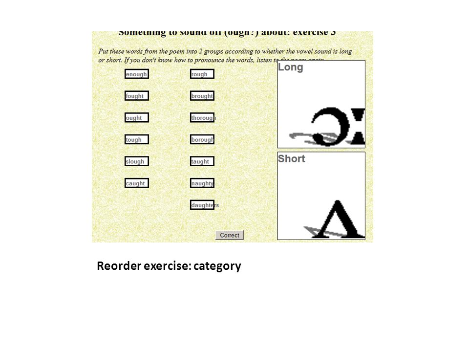 Reorder exercise: category