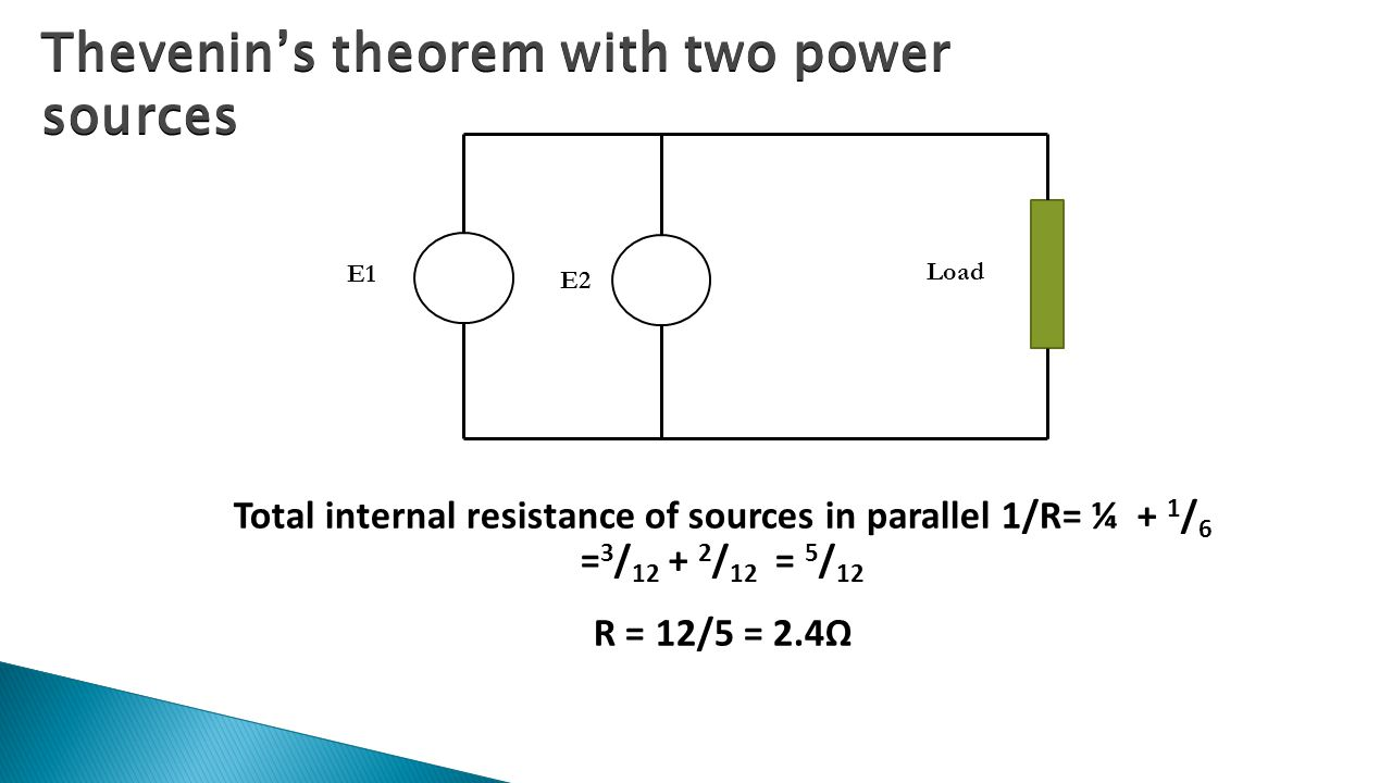 Thevenin's theorem with two power sources Total internal resistance of sources in parallel 1/R= ¼ + 1 / 6 = 3 / / 12 = 5 / 12 R = 12/5 = 2.4Ω E1 E2 Load
