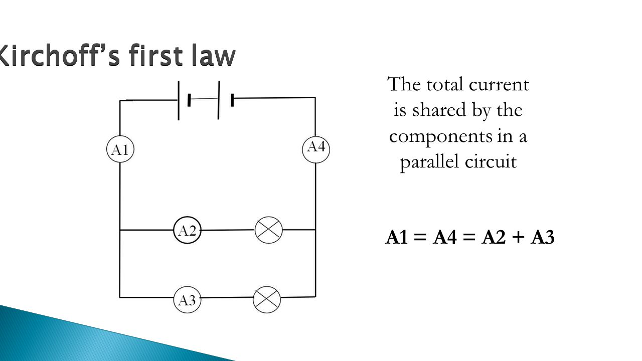 The total current is shared by the components in a parallel circuit A1 = A4 = A2 + A3