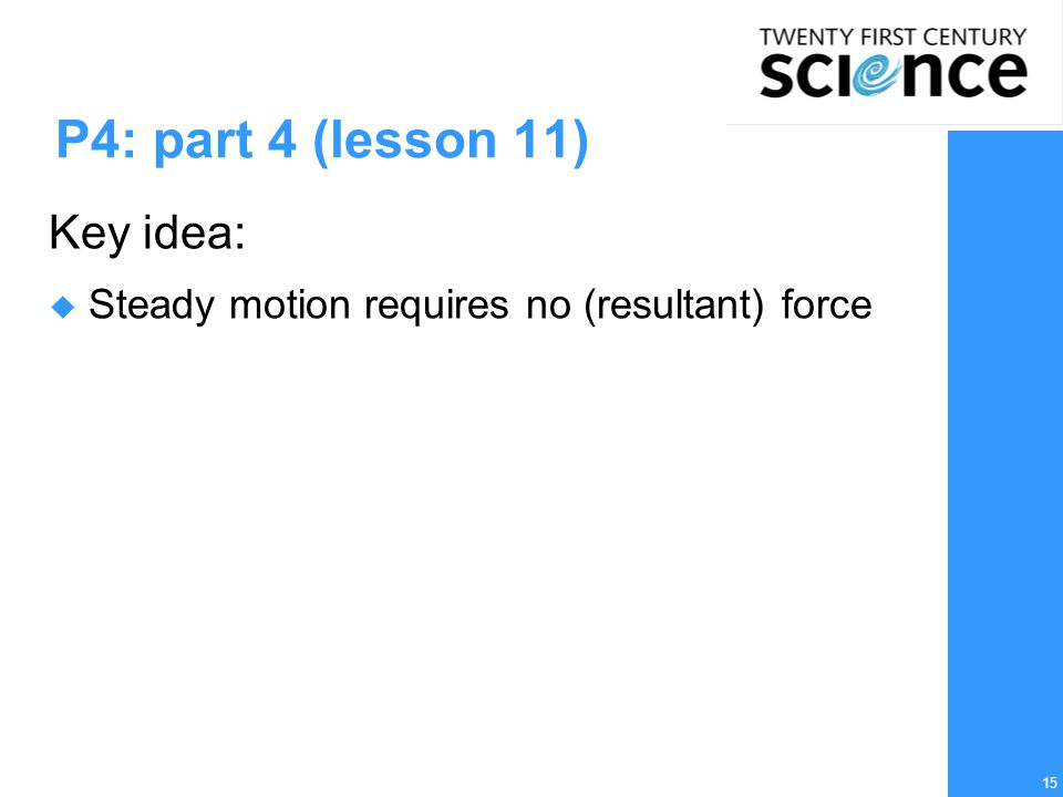 15 P4: part 4 (lesson 11) Key idea:  Steady motion requires no (resultant) force