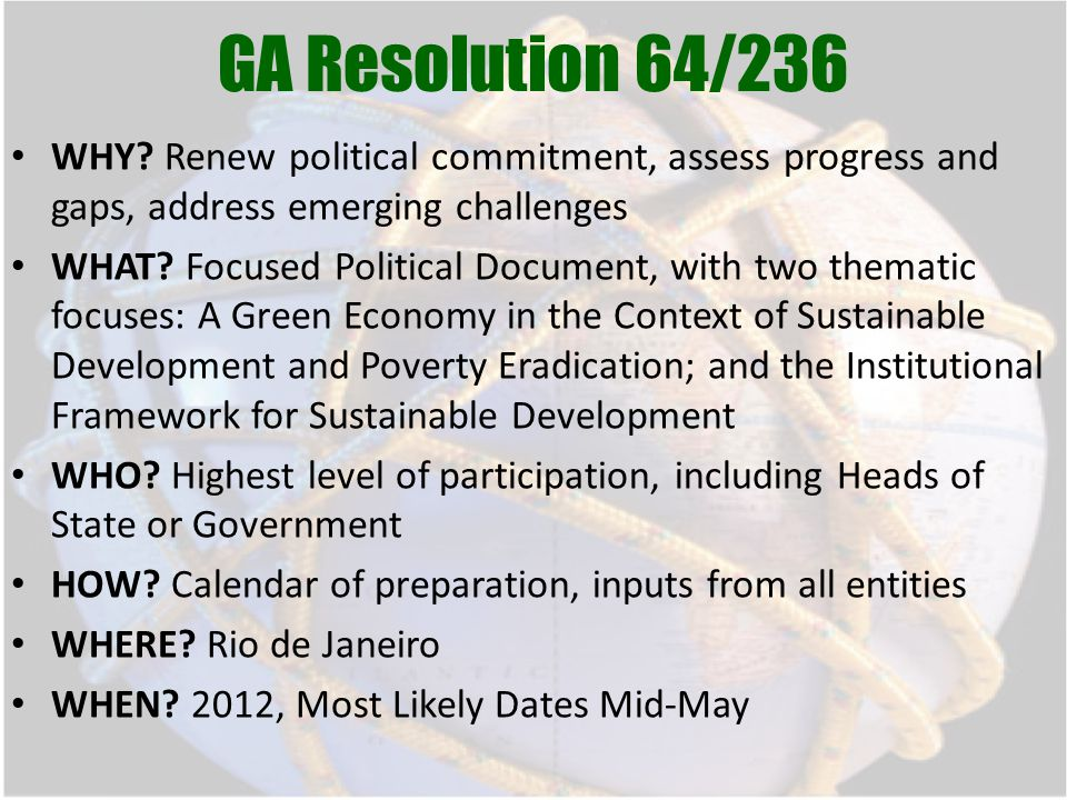 GA Resolution 64/236 WHY.