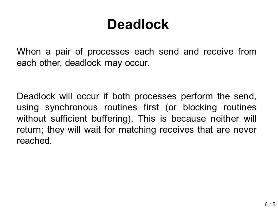 Deadlock When a pair of processes each send and receive from each other, deadlock may occur.