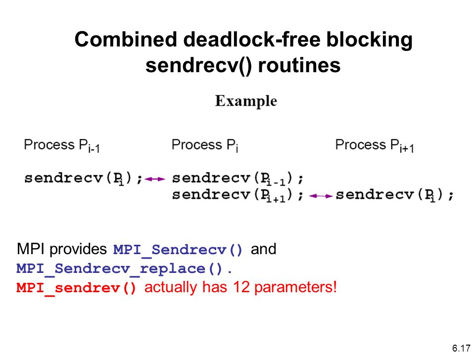 Combined deadlock-free blocking sendrecv() routines MPI provides MPI_Sendrecv() and MPI_Sendrecv_replace().