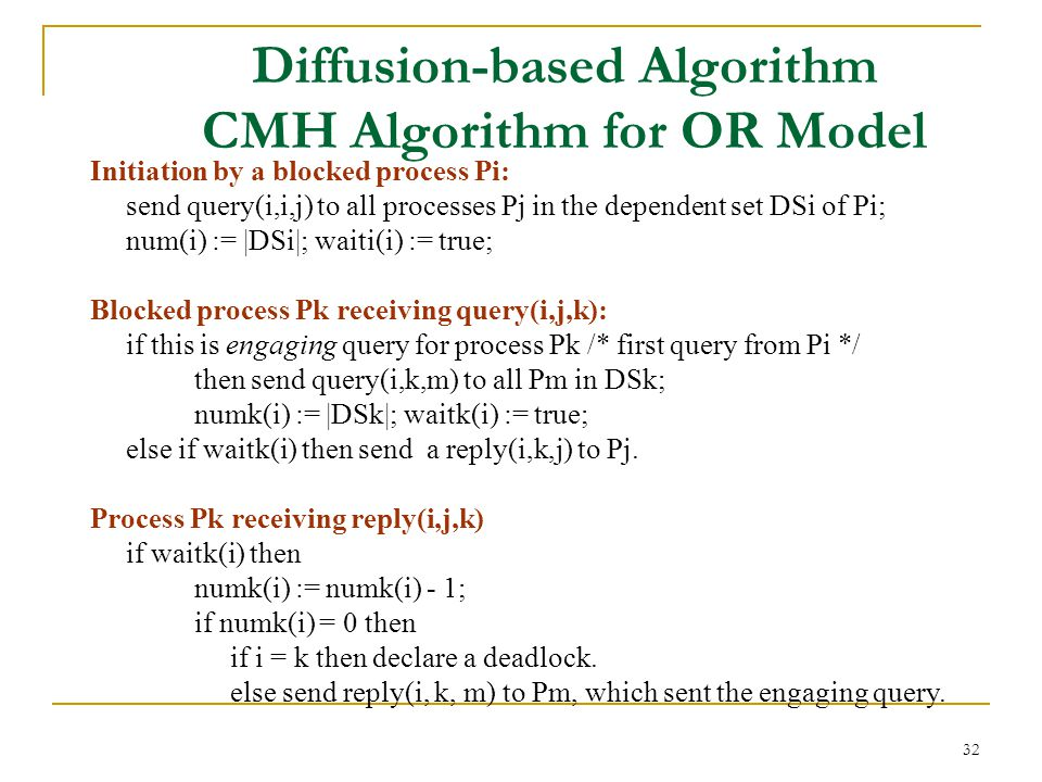 32 Diffusion-based Algorithm CMH Algorithm for OR Model Initiation by a blocked process Pi: send query(i,i,j) to all processes Pj in the dependent set DSi of Pi; num(i) := |DSi|; waiti(i) := true; Blocked process Pk receiving query(i,j,k): if this is engaging query for process Pk /* first query from Pi */ then send query(i,k,m) to all Pm in DSk; numk(i) := |DSk|; waitk(i) := true; else if waitk(i) then send a reply(i,k,j) to Pj.
