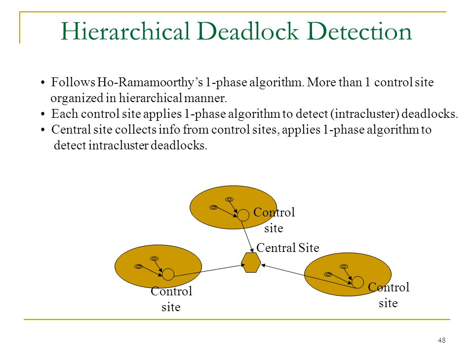 48 Hierarchical Deadlock Detection Follows Ho-Ramamoorthy's 1-phase algorithm.
