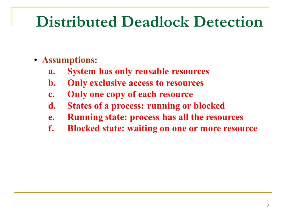 9 Distributed Deadlock Detection Assumptions: a. System has only reusable resources b.