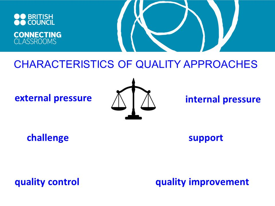 CHARACTERISTICS OF QUALITY APPROACHES external pressure supportchallenge quality control quality improvement internal pressure