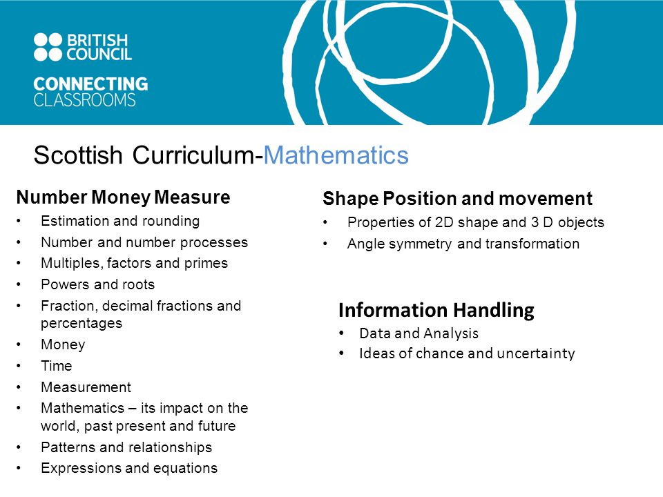 Scottish Curriculum-Mathematics Number Money Measure Estimation and rounding Number and number processes Multiples, factors and primes Powers and roots Fraction, decimal fractions and percentages Money Time Measurement Mathematics – its impact on the world, past present and future Patterns and relationships Expressions and equations Shape Position and movement Properties of 2D shape and 3 D objects Angle symmetry and transformation Information Handling Data and Analysis Ideas of chance and uncertainty
