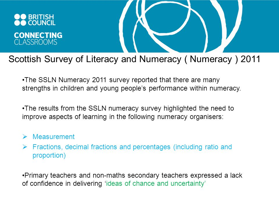 Scottish Survey of Literacy and Numeracy ( Numeracy ) 2011 The SSLN Numeracy 2011 survey reported that there are many strengths in children and young people's performance within numeracy.