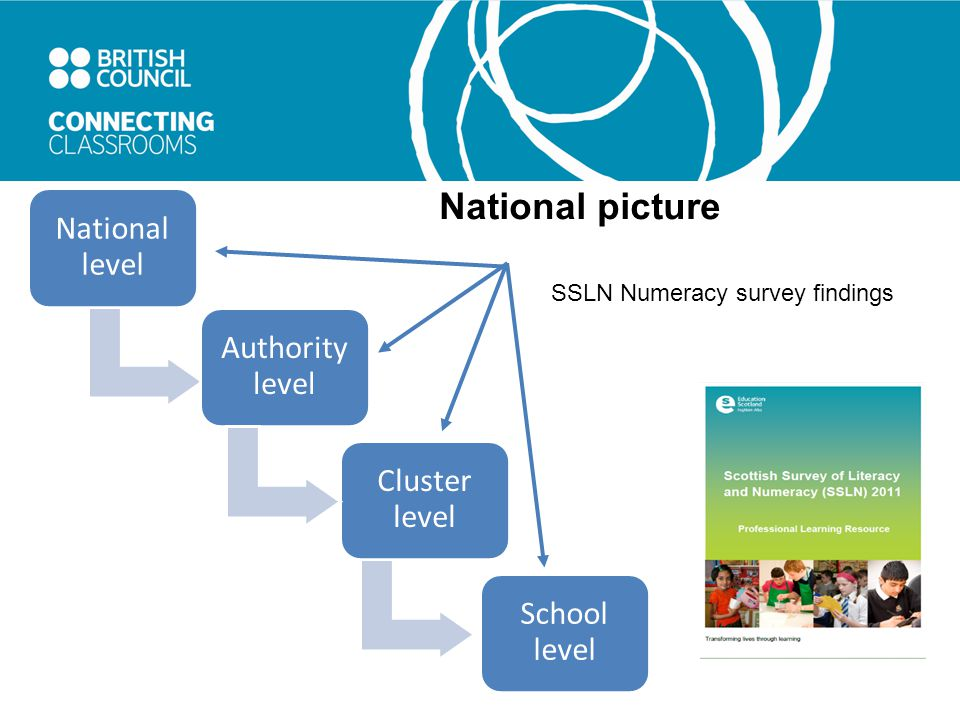 Authority level Cluster level School level National level SSLN Numeracy survey findings National picture
