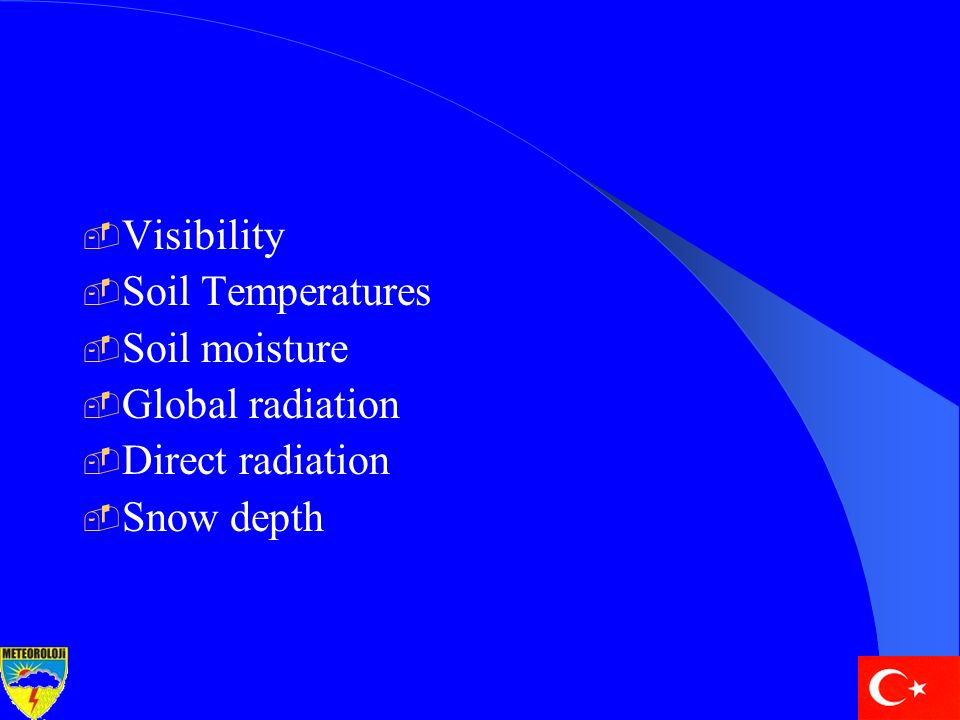  Visibility  Soil Temperatures  Soil moisture  Global radiation  Direct radiation  Snow depth