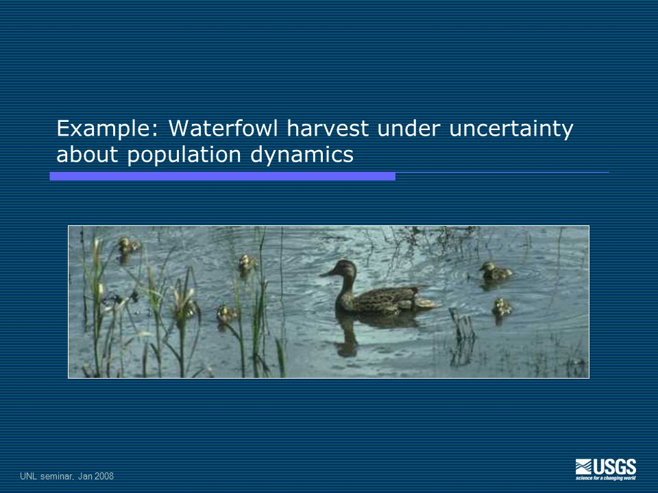 UNL seminar, Jan 2008 Example: Waterfowl harvest under uncertainty about population dynamics