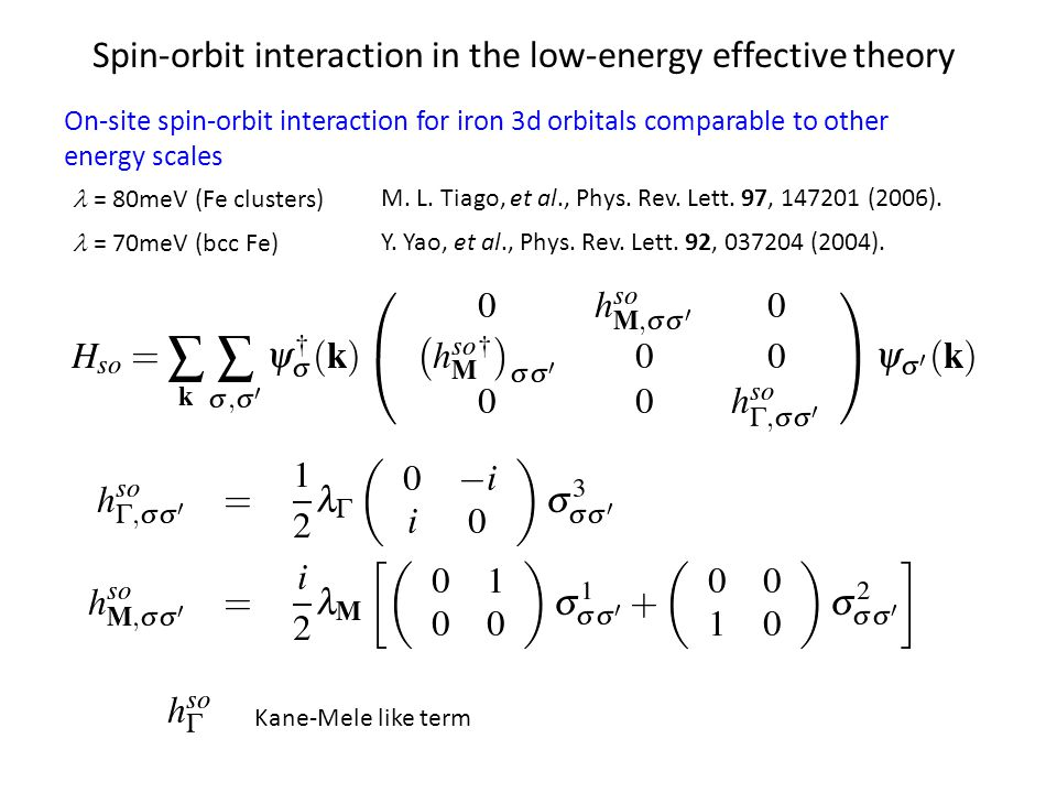 Spin-orbit interaction in the low-energy effective theory On-site spin-orbit interaction for iron 3d orbitals comparable to other energy scales M.