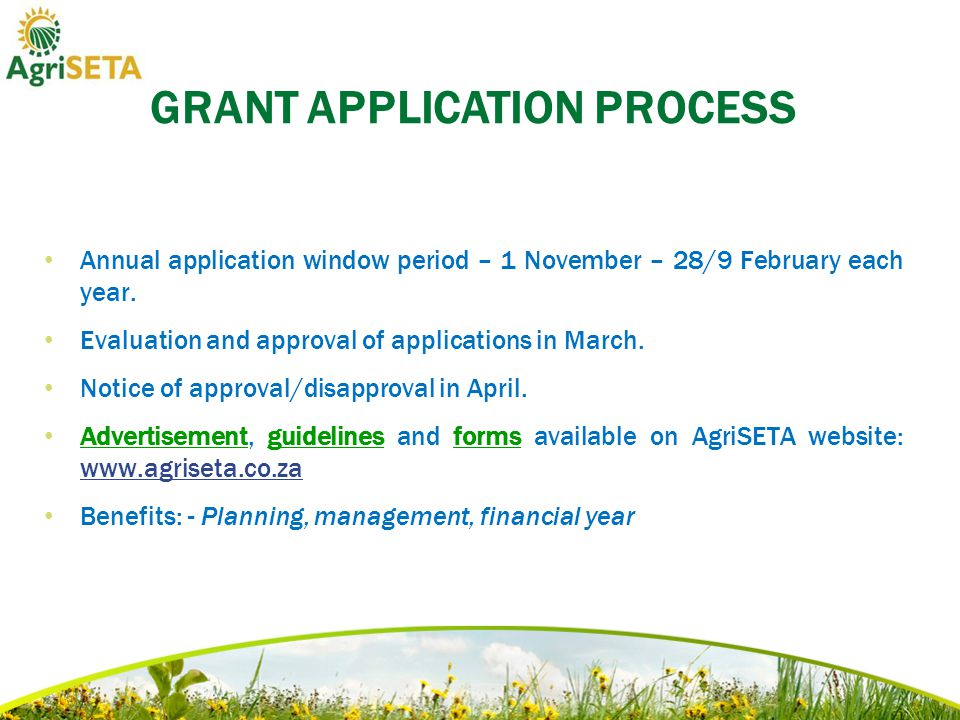 Annual application window period – 1 November – 28/9 February each year.