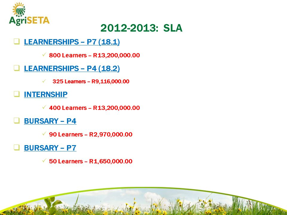 2012-2013: SLA  LEARNERSHIPS – P7 (18.1) 800 Learners – R13,200,000.00  LEARNERSHIPS – P4 (18.2) 325 Learners – R9,116,000.00  INTERNSHIP 400 Learners – R13,200,000.00  BURSARY – P4 90 Learners – R2,970,000.00  BURSARY – P7 50 Learners – R1,650,000.00