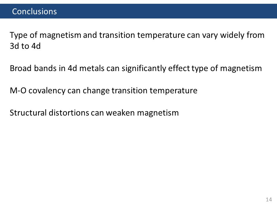 14 Conclusions Type of magnetism and transition temperature can vary widely from 3d to 4d Broad bands in 4d metals can significantly effect type of magnetism M-O covalency can change transition temperature Structural distortions can weaken magnetism