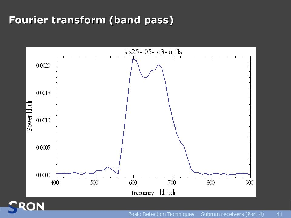 Fourier transform (band pass) Basic Detection Techniques – Submm receivers (Part 4)41