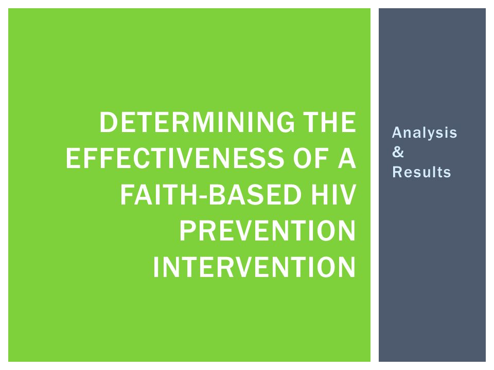 Analysis & Results DETERMINING THE EFFECTIVENESS OF A FAITH-BASED HIV PREVENTION INTERVENTION