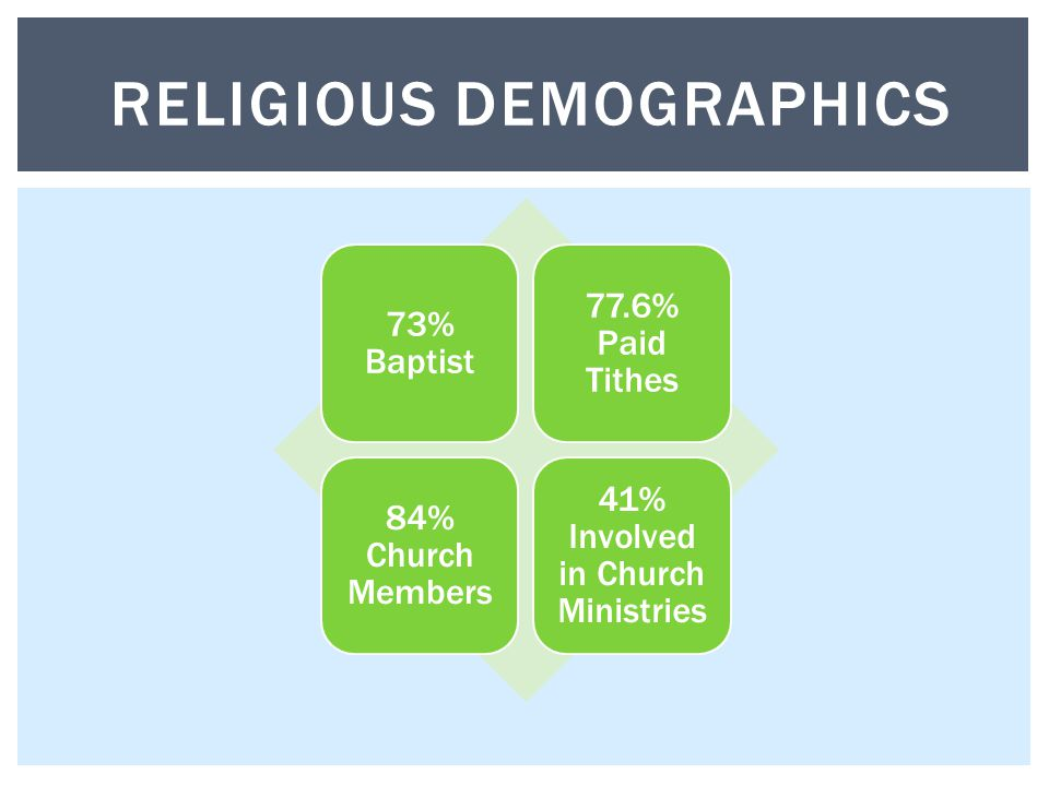 73% Baptist 77.6% Paid Tithes 84% Church Members 41% Involved in Church Ministries RELIGIOUS DEMOGRAPHICS