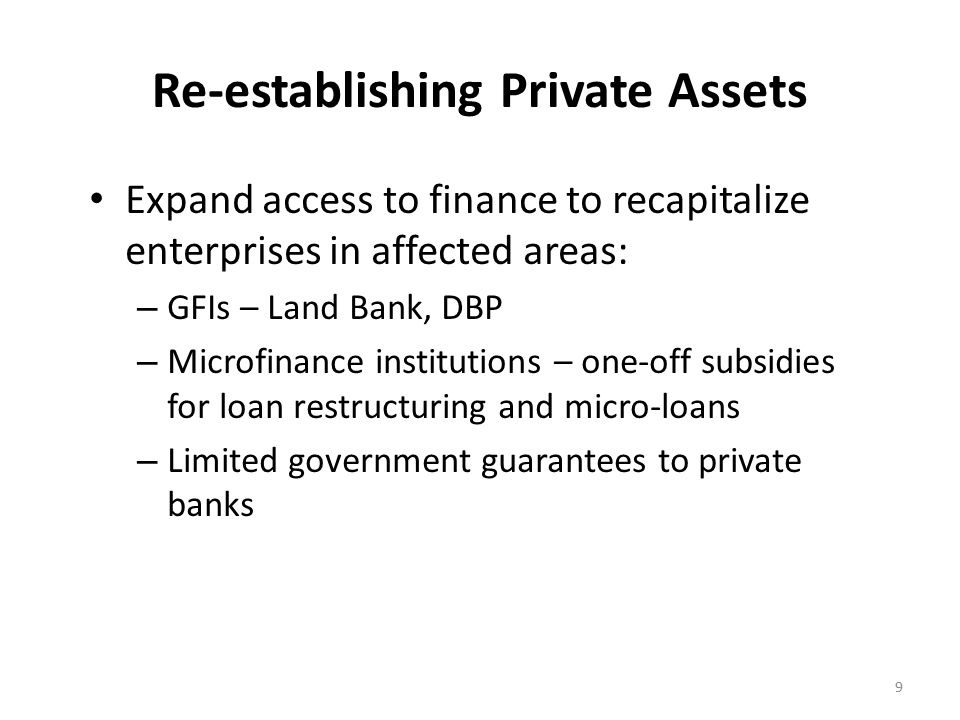 Re-establishing Private Assets Expand access to finance to recapitalize enterprises in affected areas: – GFIs – Land Bank, DBP – Microfinance institutions – one-off subsidies for loan restructuring and micro-loans – Limited government guarantees to private banks 9