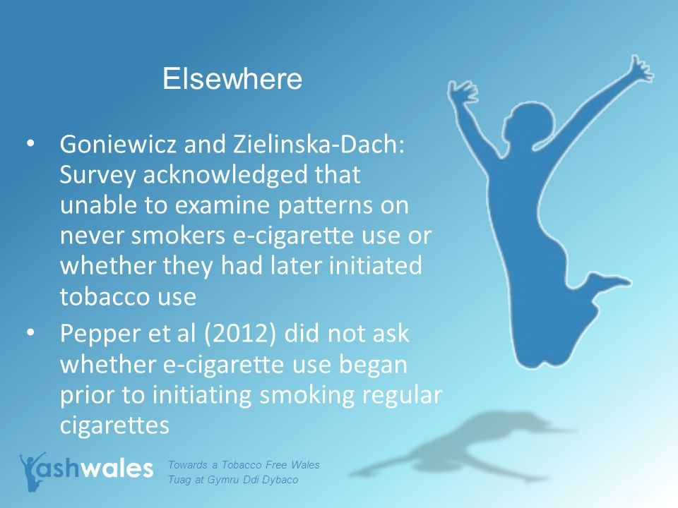 Elsewhere Goniewicz and Zielinska-Dach: Survey acknowledged that unable to examine patterns on never smokers e-cigarette use or whether they had later initiated tobacco use Pepper et al (2012) did not ask whether e-cigarette use began prior to initiating smoking regular cigarettes Towards a Tobacco Free Wales Tuag at Gymru Ddi Dybaco