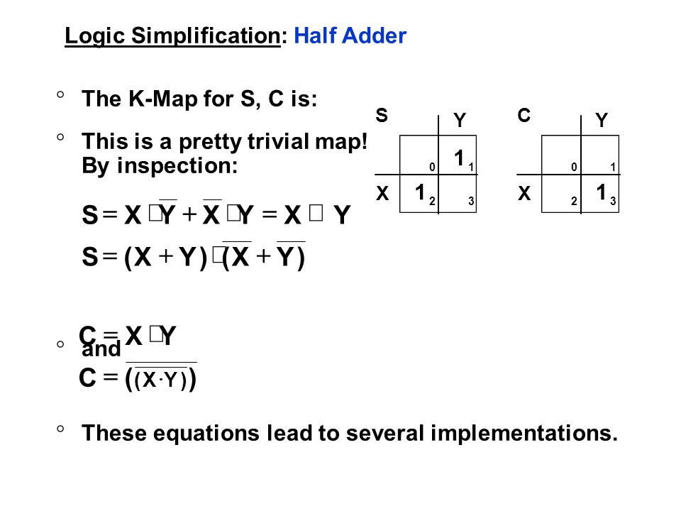 Logic Simplification: Half Adder °The K-Map for S, C is: °This is a pretty trivial map.