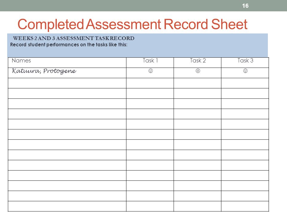 Completed Assessment Record Sheet NamesTask 1Task 2Task 3 Katuura, Protogene  16 WEEKS 2 AND 3 ASSESSMENT TASK RECORD Record student performances on the tasks like this: