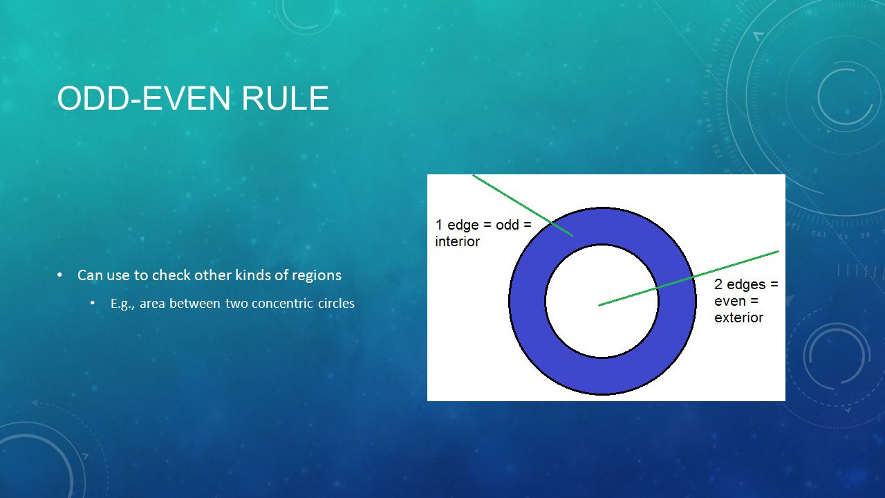 ODD-EVEN RULE Can use to check other kinds of regions E.g., area between two concentric circles