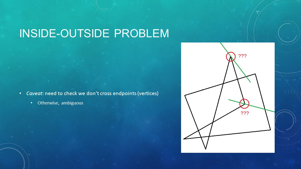 INSIDE-OUTSIDE PROBLEM Caveat: need to check we don't cross endpoints (vertices) Otherwise, ambiguous