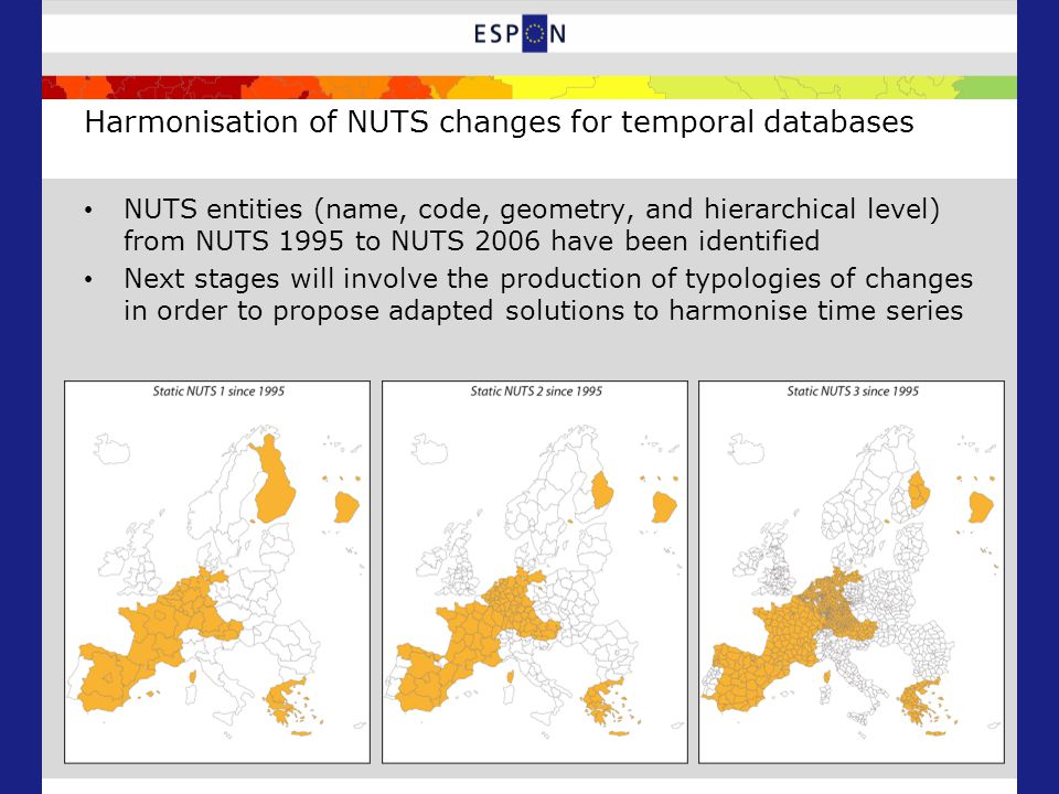Harmonisation of NUTS changes for temporal databases NUTS entities (name, code, geometry, and hierarchical level) from NUTS 1995 to NUTS 2006 have been identified Next stages will involve the production of typologies of changes in order to propose adapted solutions to harmonise time series