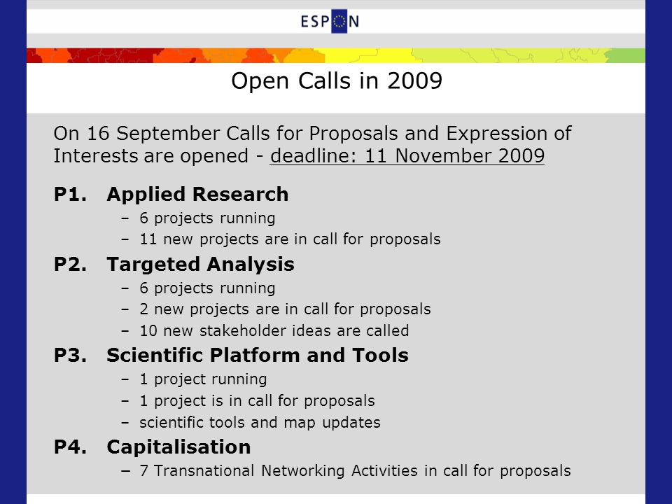 Open Calls in 2009 On 16 September Calls for Proposals and Expression of Interests are opened - deadline: 11 November 2009 P1.Applied Research –6 projects running –11 new projects are in call for proposals P2.Targeted Analysis –6 projects running –2 new projects are in call for proposals –10 new stakeholder ideas are called P3.Scientific Platform and Tools –1 project running –1 project is in call for proposals –scientific tools and map updates P4.Capitalisation −7 Transnational Networking Activities in call for proposals