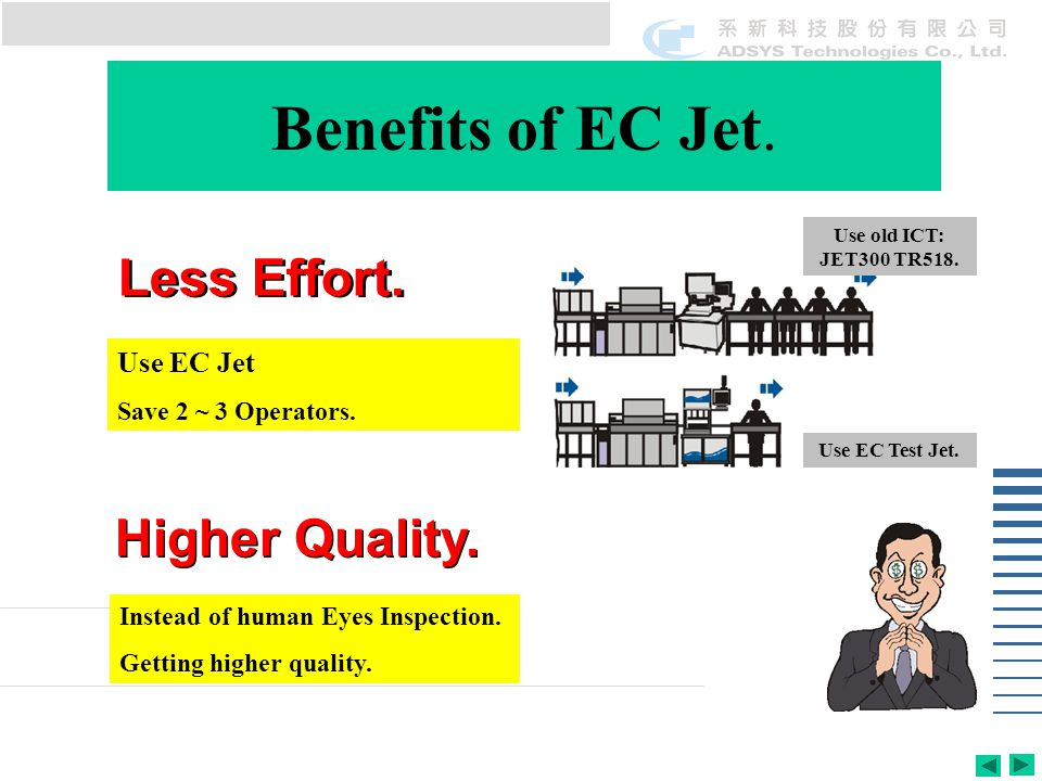 Benefits of EC Jet. Use old ICT: JET300 TR518. Use EC Test Jet.