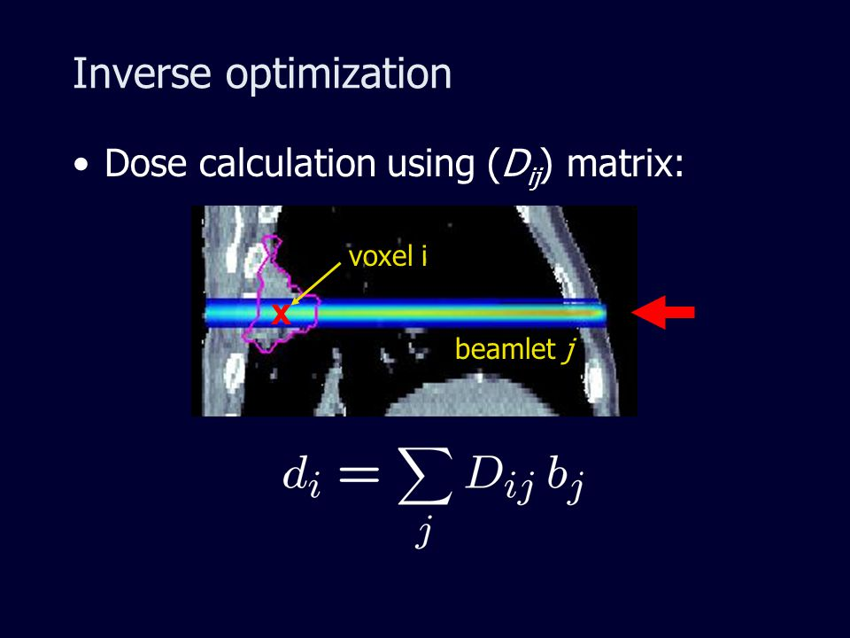 Inverse optimization Dose calculation using (D ij ) matrix: beamlet j x voxel i