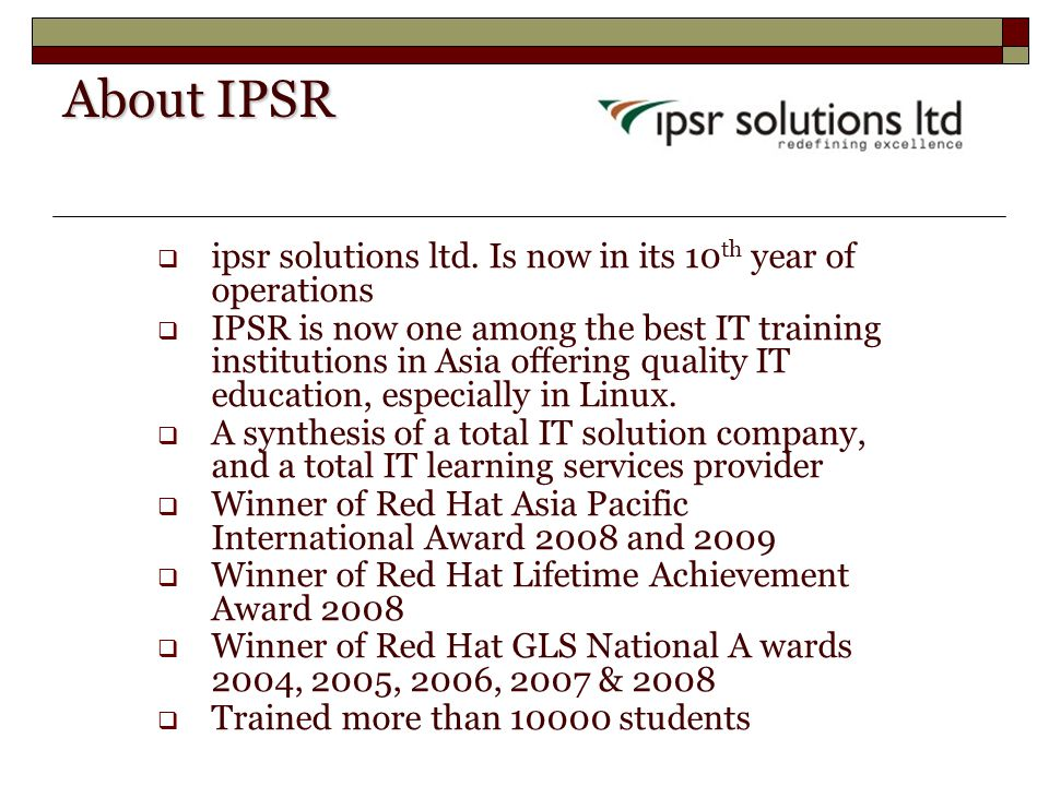 About IPSR  ipsr solutions ltd.