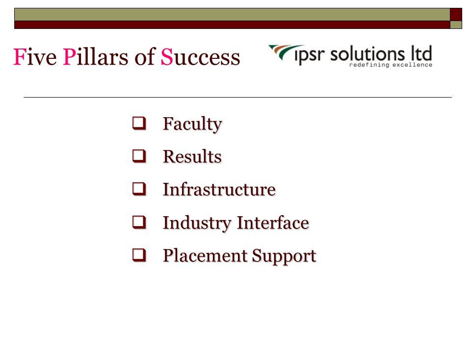 Five Pillars of Success  Faculty  Results  Infrastructure  Industry Interface  Placement Support