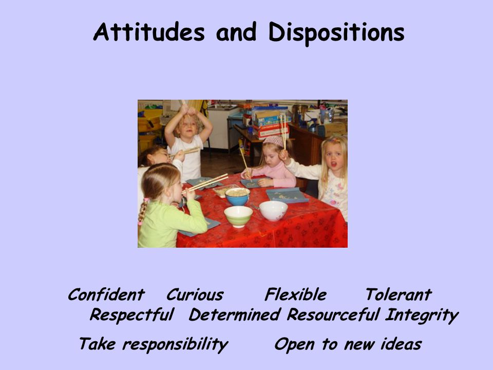 ConfidentCuriousFlexibleTolerant RespectfulDeterminedResourcefulIntegrity Take responsibilityOpen to new ideas Attitudes and Dispositions