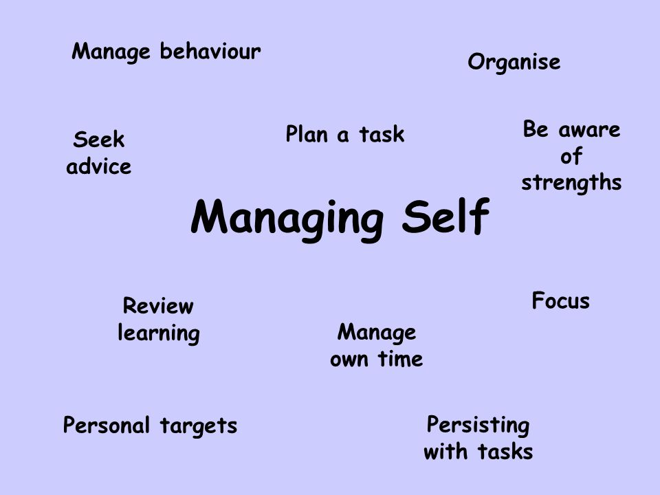 Managing Self Personal targets Persisting with tasks Manage behaviour Organise Plan a task Focus Review learning Manage own time Seek advice Be aware of strengths