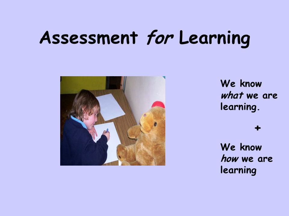 Assessment for Learning We know what we are learning. + We know how we are learning