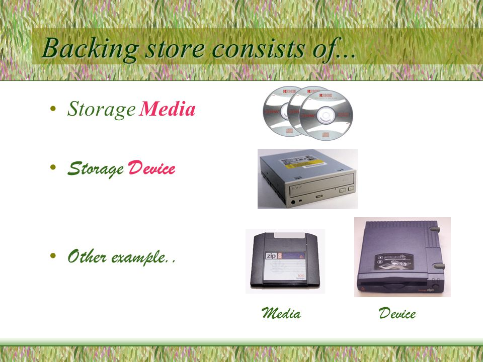 Backing store consists of... Storage Media Storage Device Other example.. MediaDevice