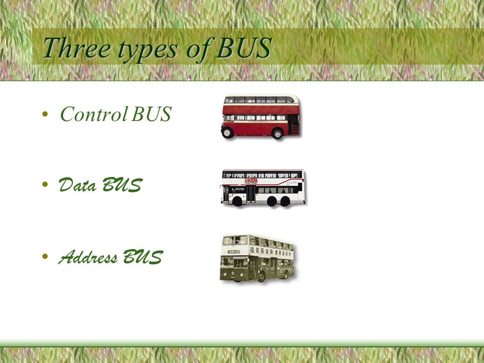 Three types of BUS Control BUS Data BUS Address BUS