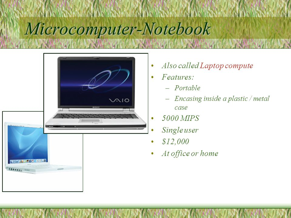 Microcomputer-Notebook Also called Laptop compute Features: –Portable –Encasing inside a plastic / metal case 5000 MIPS Single user $12,000 At office or home