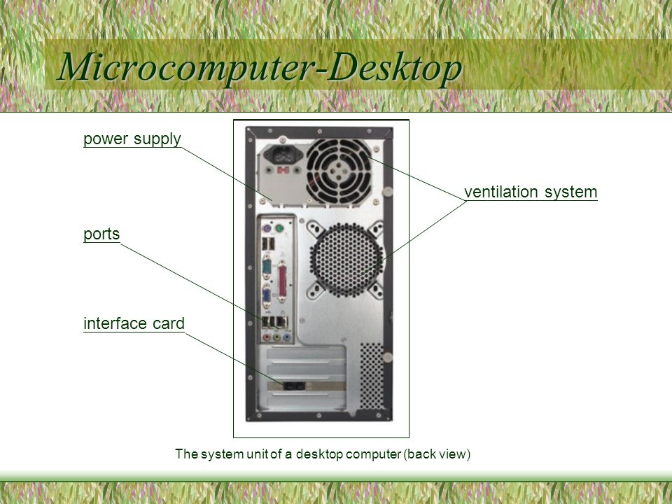 Microcomputer-Desktop The system unit of a desktop computer (back view) power supply ventilation system ports interface card