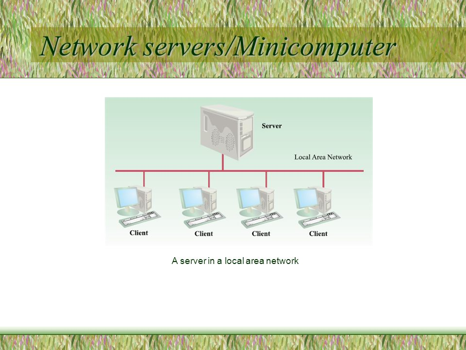 Network servers/Minicomputer A server in a local area network