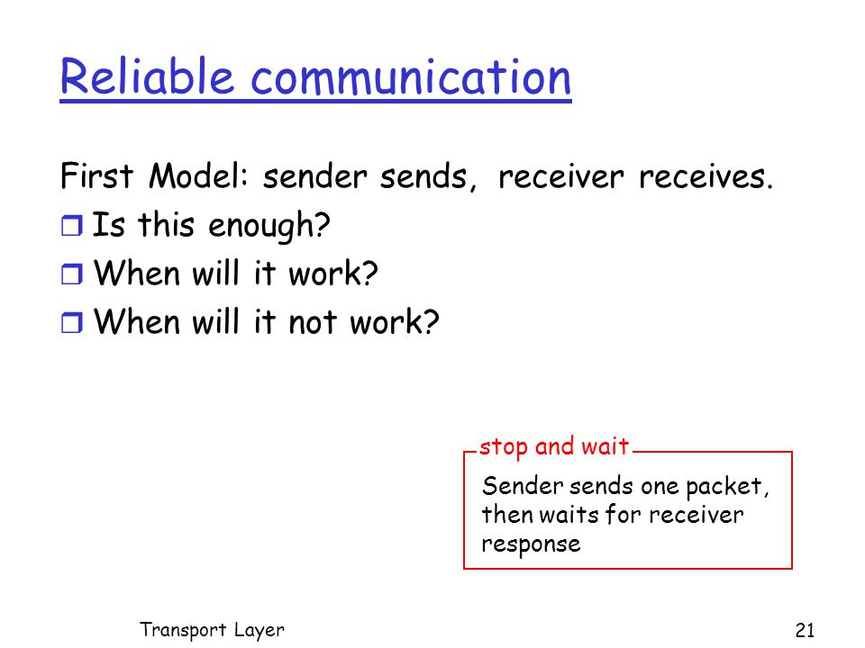 Reliable communication First Model: sender sends, receiver receives.