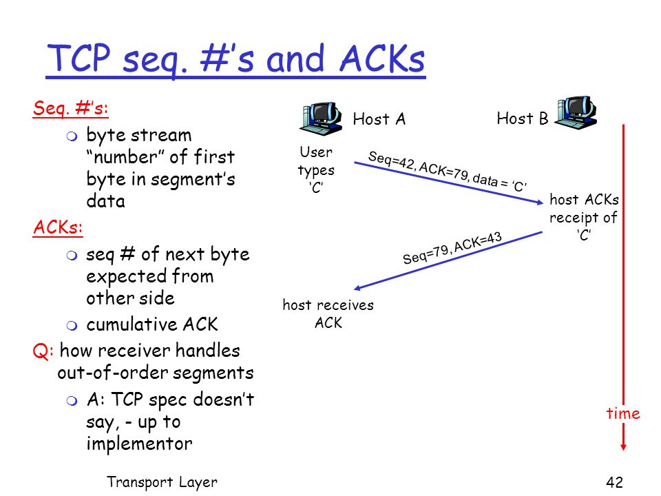 TCP seq. #'s and ACKs Seq.