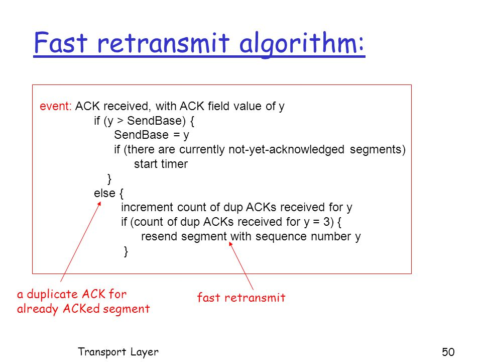 event: ACK received, with ACK field value of y if (y > SendBase) { SendBase = y if (there are currently not-yet-acknowledged segments) start timer } else { increment count of dup ACKs received for y if (count of dup ACKs received for y = 3) { resend segment with sequence number y } Fast retransmit algorithm: a duplicate ACK for already ACKed segment fast retransmit Transport Layer 50