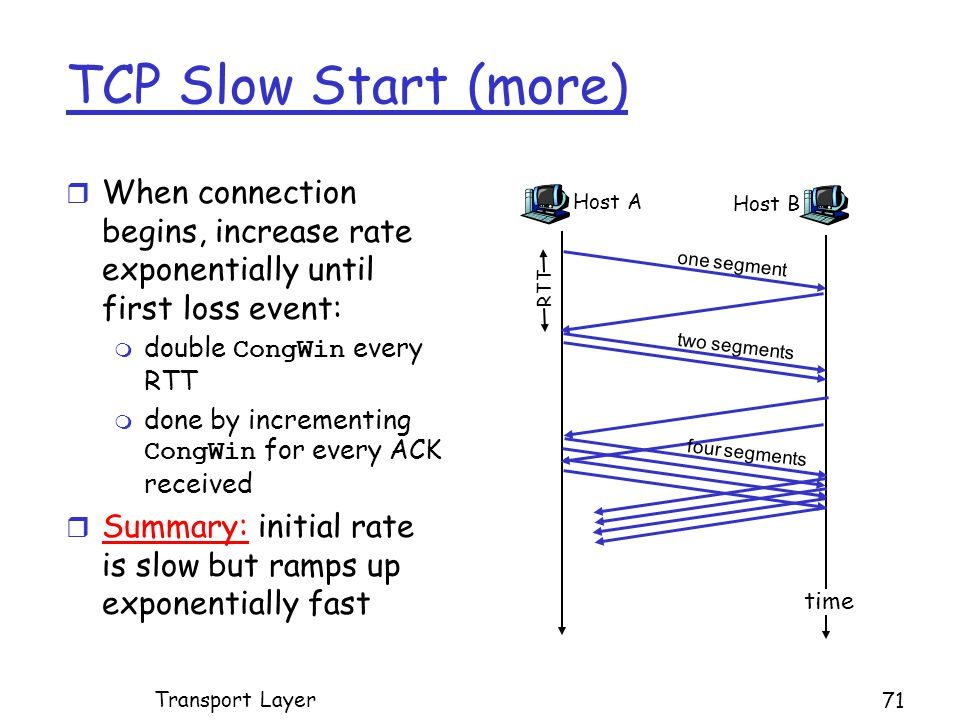 TCP Slow Start (more) r When connection begins, increase rate exponentially until first loss event:  double CongWin every RTT  done by incrementing CongWin for every ACK received r Summary: initial rate is slow but ramps up exponentially fast Host A one segment RTT Host B time two segments four segments Transport Layer 71
